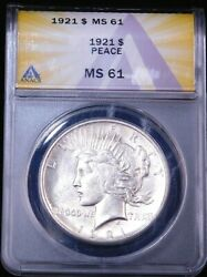 1921 High Relief Peace Dollar Anacs Ms61 Original White Nice Luster Ge914