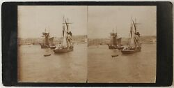 Ramsgate Sailboat Kent Uk Photo Stereo Vintage Citrate August 1894