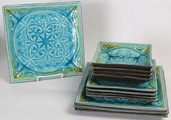12 Pc Set Roscher Lorelei Blue Green Square Dinner Plates, Salad Plates And Bowls