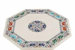 3' Elephant Inlay White Marble Center Side Coffee Table Top Green Malachite H18