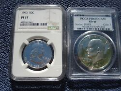Two Us Coins 1913 P Silver Barber Dime+ 1971 S Proof Silver Eisenhower Dollar