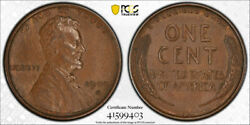 1909 S Vdb 1c Lincoln Wheat Cent Pcgs Au 58 About Uncirculated Cac Nice Coin