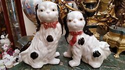 Vintage Pair Large Dog Figurines Hand Painted One Near 11t Other 9t Beautiful