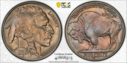1929 S 5c Buffalo Nickel Pcgs Ms 66 Uncirculated Attractive Toned Beauty