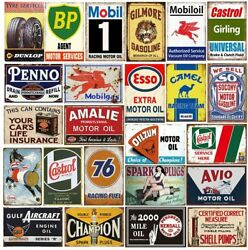 27 Oil And Gas Tin Sign Lot Esso Socony Mobiloil Gilmore Gulf Shell Oilzum Bp