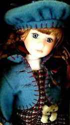 Exclusive Porcelain Doll Carrie With Atlas Made By Boyds Bears Resin 2001