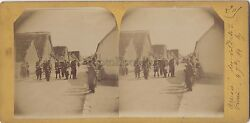 France L'arrival Of Soldiers Village Photo Stereo Vintage Citrate 1894