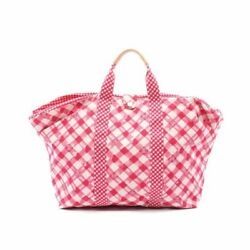 Cruise Line Tote Bag Check Canvas Leather Pink White Beige Rc351