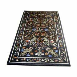 4and039x2and039 Black Marble Coffee Side Table Top Stone Inlay Mosaic Decor Pietra Dura