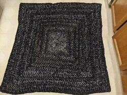 Afghan Blanket / Shawl Black And Gray Tones With Sparkle Acrylic Easy Care