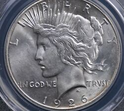 1926 Peace Dollar Pcgs Ms 63 Beautiful White Satin Luster Clean Surfaces And