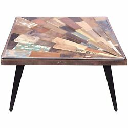 The Urban Port Square Wooden Coffee Table With Sunburst Design Glass Inserted To