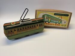 Vintage Nos Modern Toys No. 2 City Trolley Car Lever Action Tin Toy Train In Box