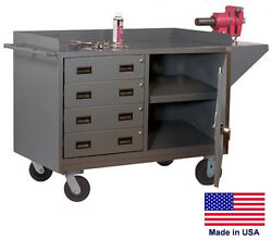 Cabinet Cart Portable - Commercial - Cabinet And 4 Drawers - 38h X 60w X 24d