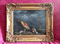 Antique 19th Century Old English School Oil On Canvas Seascape In Gilded Frame