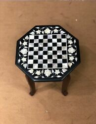 24and039and039 Marble Kids Children Game Chess Table Top Inlay Stone Antique