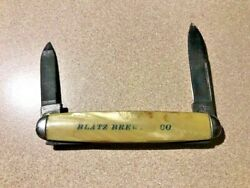 Rare Vintage And039blatz Brewing Co.and039 2 Blade Folding 3 Pocket Knife Hammer Brand