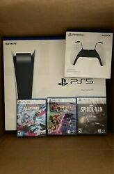 Sony Playstation 5 Ps5 Console Disc Version Controller 3 Game Bundle Spiderman