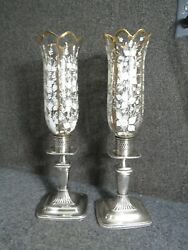 Antique Silver Hallmarked Candle Sticks  Painted Glass Chimneys