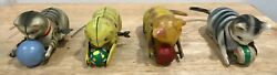 Tin Litho Key Wind Up Roll Over Cat Toys - Vintage - Lot Of Four Different