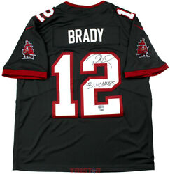 Tom Brady Signed Buccaneers Pewter Nike Limited Jersey Insc Sb Lv Champs Tristar