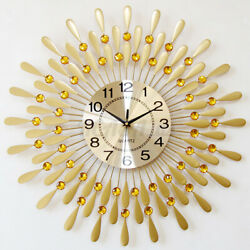 Luxury Peacock Large Wall Clock 3D Metal Living Room Wall Watch Home Decor 24H