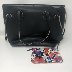 Lodis Womens Tote Satchel Bag With Purse Black Leather Phone Pocket Huge