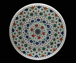 3and039 Marble Dining Coffee Side Corner Center Table Round Top Mosaic Inlay Kitchen
