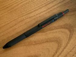 Rotring 600 Trio Matte Black Ballpoint Pen Blue Red And Pencil In Box Knurled