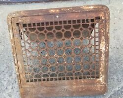 Vintage Cast Iron Wall Mount Grille Heat Grate Register W/ Flap Marked 10 X 12