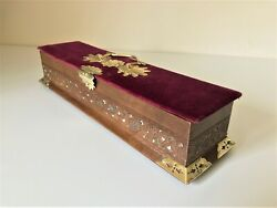Antique French Velvet And Leather Glove Box With Brass Decoration C.1850