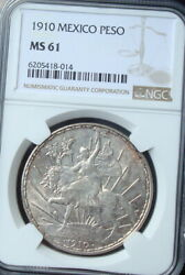 1910 Mexico 1 Peso Silver Beautiful Coin Uncirculated Ngc 61