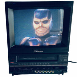 Vintage Emerson Vct-120 10 Inches Retro Gamer Television Tv W/vcr July 1989 Euc