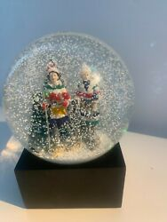 Vintage Hudsons Bay The Bay Snowshoeing Christmas Snow Globe 11 Inch Rare