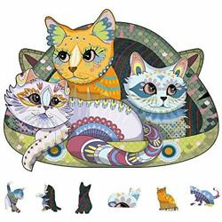 Wooden Jigsaw Puzzles 200 Uniquely Shaped Animal-shaped Puzzle Happy Cat