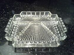 Lovely Depression Glass Divided Dish Relish Or Candy - Art Deco Vibe