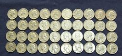 1961-1962----nice Circulated Roll Of Quarters--d--p Mint