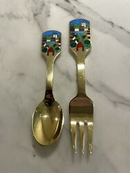 Danish Gilded Christmas Coffee Spoon And Fork July 1988 A. Michelsen