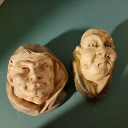 Pair 2 Vintage Medieval Arcitecture Gothic Gargoyle Faces Figural Wall Hangings