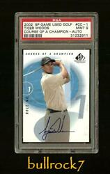 2002 Sp Game Used Tiger Woods Course Of A Champion Auto Autograph Psa 9 Mint