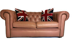 1 English Beautiful Vintage 20th Leather Chesterfield Sofa 2 Seater Ladies Pink