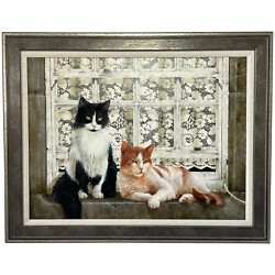 Fine Oil Painting Cats Sitting Watching The World Go By Signed David C Lyons