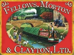Fellows Morton And Clayton Canal Boat Small Steel Sign 200mm X 150mm Og