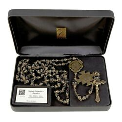 St. Benedict Vintage Rosary 8-10mm-black Beads Creed Italy