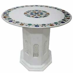 30and039and039 Antique White Marble Coffee Table Top Malachite Round Inlay With Stand