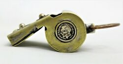 Vintage Rare Great Britain King George Brass Police Whistle Antique 39 Grams