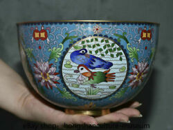 7 Old Chinese Cloisonne Copper Dynasty Mandarin Duck Crane Round Bowl Bowls