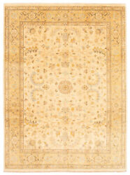 Vintage Hand-knotted Carpet 9'1 X 12'4 Traditional Ivory Wool Area Rug