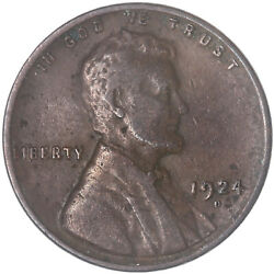 1924 D Lincoln Wheat Cent Very Fine Penny Vf See Pics G906
