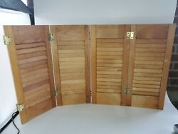 Interior Louvered Wooden Window Shutters Bi Fold Colonial Set Of Two 21 X 18.25